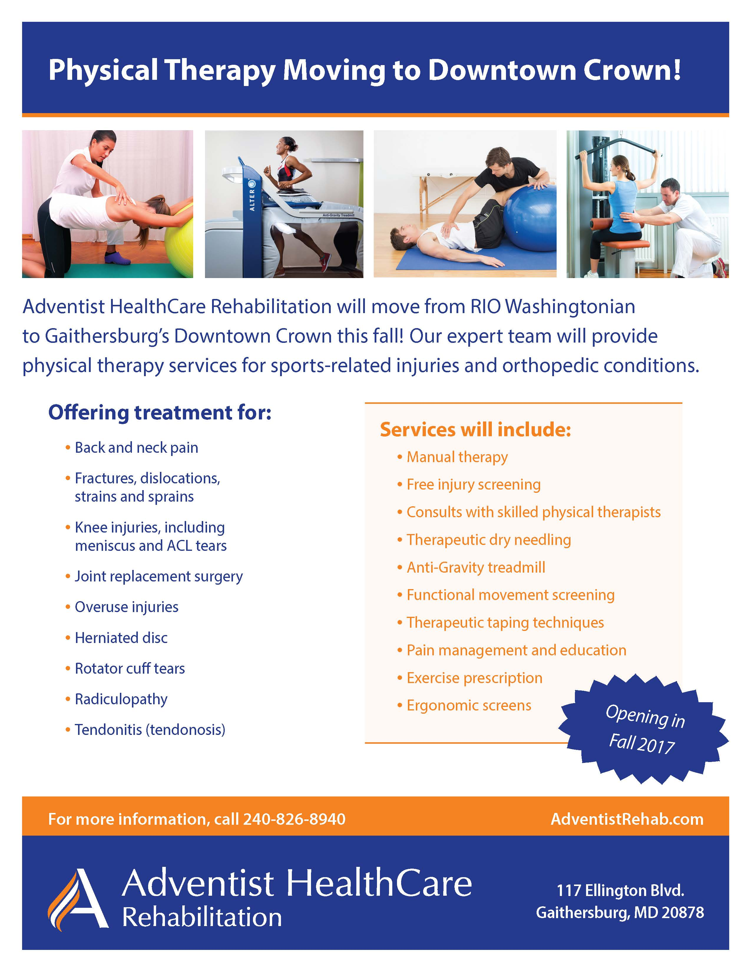 Physical Therapy Moving to Downtown Crown!